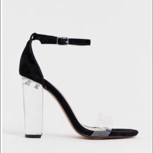 Steve Madden Black Suede Clear Strap Heels Sandals
